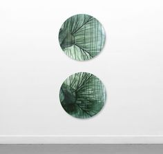 575 by Anita Levering Blueisch Green Double 600 mm tondo acrylic on linen 2013 SOLD