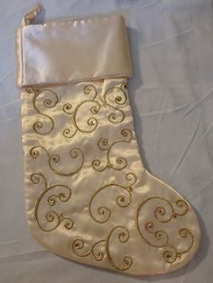 ivory gold christmas stocking - Gold Christmas Stocking