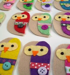 Owl felt crafts. twit twoo. Perfect craft for Brownie/Guide troups.