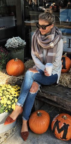 #fall #outfits women's gray shawl, gray long sleeved shirt and blue ripped jeans