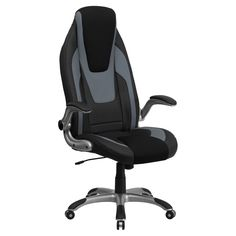 Flash Furniture High Back Vinyl Executive Swivel Office Chair with Black Mesh Insets and Flip-Up Arms - CH-CX0326H02-GG
