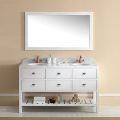 Salerno White Bathroom Vanity Traditional Free Standing Double Vanity Cabinet