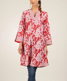 Love this Red & Pink Floral Stripe Long-Sleeve Notch Neck Tunic on #zulily! #zulilyfinds