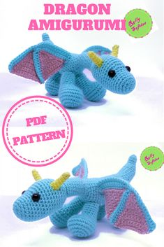 Do you love fairy tales and beautiful mythological creatures? Here there's the perfect #amigurumi for you! This cute #dragon amigurumi is a lovely toy or a #fantasy decoration, try it in darker color for a fierce touch. The #pattern is in English, it's a PDF with a lot of pictures. Level intermediate. Instant download!