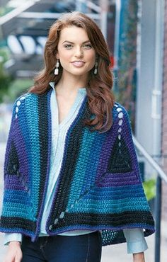 Give the granny square a modern look with the fashions and afghans in Granny Squares Reimagined, featuring Heartland® from Lion Brand® Yarns. This sensationally