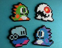 Bubble Bobble Video Game Magnets Set of FOUR by PorcupineSpines, $15.00 Perler Bead Art, Diy Perler Beads, Pearler Beads, Fuse Beads, Bubble Bobble Game, Peyote Beading, Pixel Art, Hama Beads Minecraft, Perler Patterns