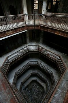 Abandoned Detroit office building. #abandoned #architecture #haunting #spooky #scary #staircase #office #work #stairways