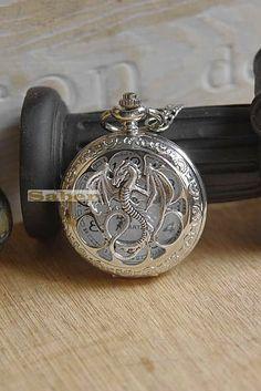 Retro Victorian Silver Dragon Pocket Watch Necklace Chain Y003