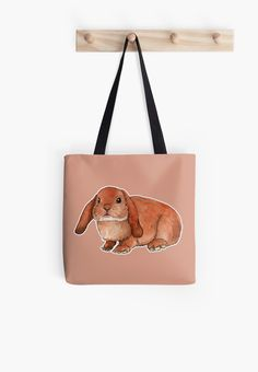 """Red rabbit ram"" Tote Bag by Savousepate on Redbubble #totebag #bag #drawing #watercolor #painting #rabbitram #rabbit #bunny #orange #brown #ginger #easter"