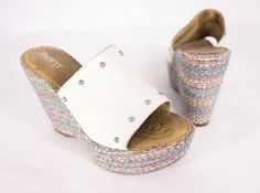 BORN Kendri Platform Wedge Sandals Size 6 36.5 Off White Leather Open Toe Woven #Born #PlatformsWedges #Casual