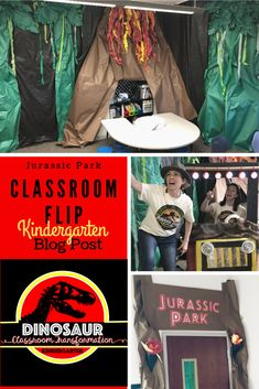This was a fun flip! B and I came in on Sunday and got this done to my room . Escape The Classroom, Future Classroom, Classroom Themes, Classroom Design, Dinosaur Classroom, Jurrassic Park, Dinosaur Activities, Kindergarten Themes, Theme Days