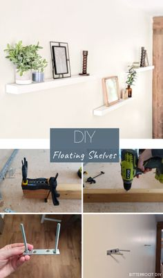 DIY Floating Shelves   Build your own floating shelves using just 2x4s. Plans and tutorial from Bitterroot DIY