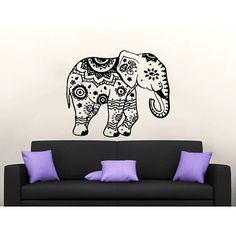 Elephant Vinyl Sticker Decals Lotus Indian Elephant Floral Patterns Mandala Tribal Sticker Decal size 33x39 Color