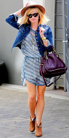 Reese Witherspoon in a cute dress with a few boho accessories.  Easy for spring