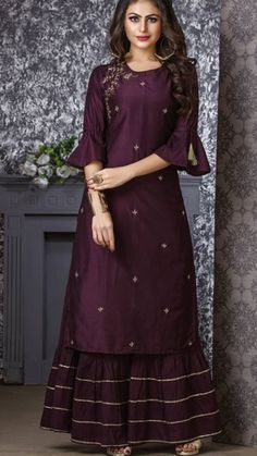 Beautiful Kurti with sharara. Embellished with gota work and embroidery - Salvabrani Kurta Designs Women, Kurti Neck Designs, Dress Neck Designs, Kurti Designs Party Wear, Indian Designer Outfits, Indian Outfits, Designer Dresses, Designer Kurtis, Indian Gowns Dresses