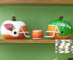 Pumpkin Carving idea for a sports lover. The little pumpkin, love it.