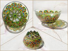 RichanaDragon ||| Andes. Glass salad bowl (candle holder) with green curling pattern and rainbow colors ornament. Hand painted stained glass.