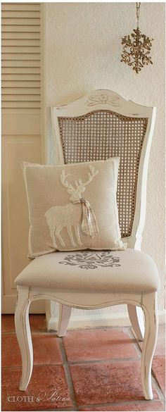 Dropcloth dining chair redo with stenciled seating