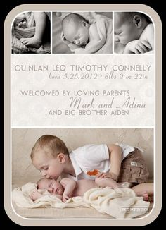 FREE Photoshop Template - Boy Birth Announcement | Boy birth ...