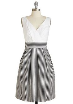 Oceanfront Properly Dress in Black Stripes. You'll look and feel coast-appropriate in this striped dress!  #modcloth