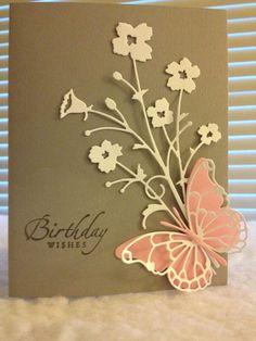 handmade birthday card ... Butterfly Memory Box Die  with die cut wildflowers ... kraft card with vanilla and peach ...