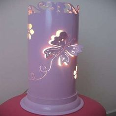 Pipe Lamp It's hard to believe that this pretty, delicate-looking pink butterfly lamp is made from a piece of PVC pipe. Once the pattern has been punched and cut from the pipe, the lamp's ready to be wired for electricity. Pvc Pipe Crafts, Pvc Pipe Projects, Dremel Projects, Diy And Crafts, Do It Yourself Projects, Projects To Try, Diy Clock, Pipe Lamp, Pillar Candles
