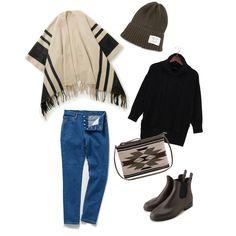 ライン柄ポンチョ stylist:nao boots denim knits poncho  cardigan side gore boots