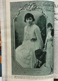 Publicity photo of Edith Hallor from Cosmo March 1918. Singer, dancer, Broadway actress during WWI, and starred in Ziegfeld Follies 1917. She married actor-director John Francis Dillon in 1914 and settled with him in Hollywood in the early 1920s. She appeared in silent films over the years but her movie career never really took off. She died in 1971 at age of 75.