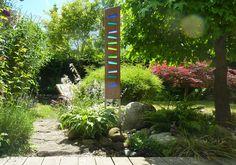 Skulpturen - Gartenskulptur aus Holz und Glas - ein Designerstück von Eichenstelen bei DaWanda