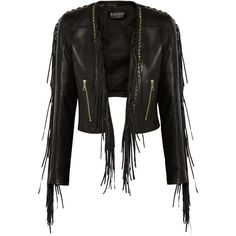 Balmain Fringed leather biker jacket ($2,040) ❤ liked on Polyvore featuring outerwear, jackets, leather jackets, tops, coats, black, long leather jacket, leather motorcycle jacket, balmain jacket and genuine leather jackets