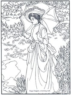 Free coloring page coloring-adult-manet. Woman of the century with beautiful umbrella: a work of Edouard Manet to print and color Dover Coloring Pages, Printable Coloring Pages, Adult Coloring Pages, Coloring Books, Free Coloring, Sargent Art, Singer Sargent, Famous Artists, Colorful Pictures