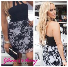 """""""Fashion Week Dress"""" $68.00  Stretch bodice with flouncy skirt dress with open neckline. Exposed zipper in back. 90% polyester 10% spandex  Black top with black and white printed bottom.  To purchase: https://glamandsassy.com/product/stretch-bodice-with-flouncy-skirt-dress/  Or click link in bio above for the product of the day ✔️Comment with your email and size (small, medium or large) and we will send you an invoice!  #ShowYourSparkle ✨ #GlamAndSassy"""