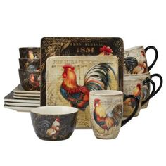 August Grove Liskeard Gilded Rooster 16 Piece Dinnerware Set, Service for 4 Rooster Plates, Rooster Kitchen Decor, Rooster Decor, Rooster Art, Square Dinnerware Set, Dinnerware Sets, Casual Dinnerware, Stoneware Dinnerware, Dinner Plate Sets