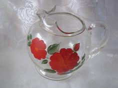 Vintage Small Glass Juice Pitcher / Hand Painted by EstateFinds4U2