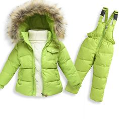 Children Winter Clothing set Boys Ski Suit Girl Down Jacket Coat + Jumpsuit Set 1-6 Years