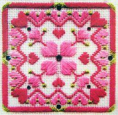 5x-Needlepoint-Pattern-XmasBall-EleganceCubed-Heart-039-sDelight-Flowers-Band-RN31