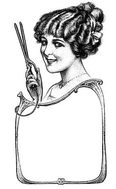 This is an early 1900's ad for an electric curling iron. This would make a cute logo or business card for a Beautician or Hair stylist!