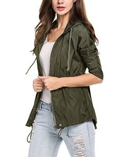Womens Raincoat, Lightweight Waterproof Windproof Jacket ...