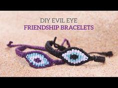 [305DIY]마크라메 이블아이 매듭팔찌만들기, macrame evil eye knot bracelets DIY tutorial - YouTube