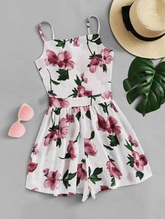 Knot Back Floral Cami RomperFor Women-romwe Cute Comfy Outfits, Cute Girl Outfits, Cute Summer Outfits, Girly Outfits, Pretty Outfits, Pretty Dresses, Stylish Outfits, Outfits For Teens, Girls Fashion Clothes