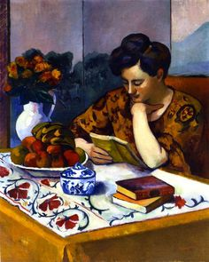 """Reader with a Yellow Book"" by Henri Manguin - 1910"