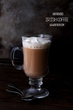 Authentic Irish Coffee | www.diethood.com | A delicious and warm Authentic Irish Coffee made with whiskey, coffee, and heavy cream. | #recipe #coffee #irishcoffee