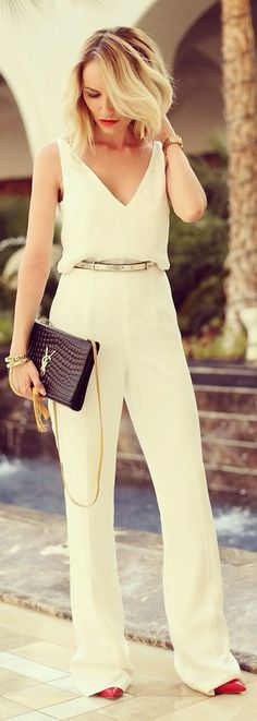 White jumpsuit and metallic belt