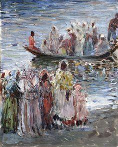 """Robert Sterl: """"Prozession an der Wolga bei Simbirsk"""", um 1922. Öl auf Leinwand. Deutsches Impressionismus."""