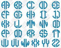 454595319 Circle Monogram 2 Letter Font SVG Cut File Set in SVG