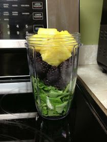 Blackberry Kale Smoothie :     2 cups chopped/torn kale leaves (without big stems),   I cup frozen blackberries,   4 chunks of fresh peeled pineapple,   water as desired