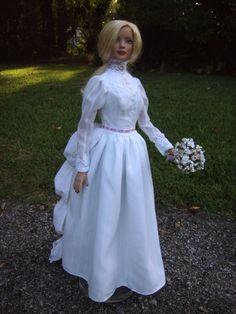 "Victorian/Edwardian Steampunk Wedding Gown for 22"" American Model Tonner Dolls - by Morgan May @ Stardust Dolls - http://www.stardustdolls.com"