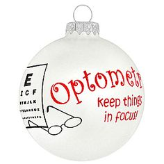 Xmas ball for Optometrist.....cute!    www.FLEyecareEyewear.com