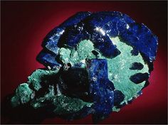 Azurite is a bright blue compound.