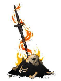 Bonfire Arte Dark Souls, Dark Souls 2, Dark Fantasy, Fantasy Art, Bloodborne Art, Soul Tattoo, Soul Game, Gaming Tattoo, Tattoo Graphic